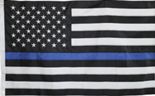 THIN BLUE LINE U.S. 3X5' POLY FLAG