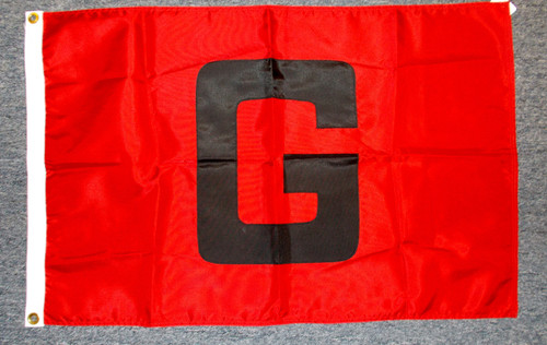 "BLACK ""G"" ON RED 2X3' NYLON FLAG"