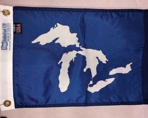 "GREAT LAKES MICHIGAN 12X18"" BOAT FLAG"