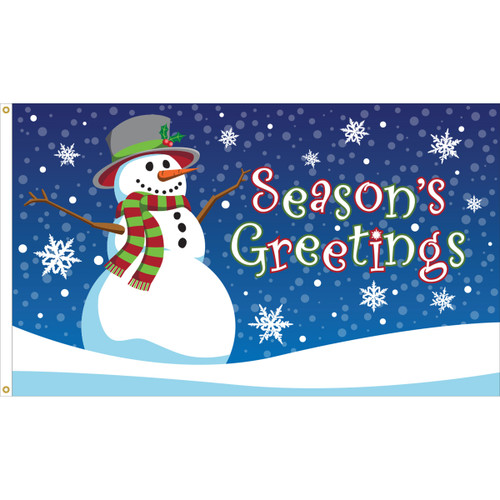 SEASON'S GREETINGS SNOWMAN 3X5' NYLON FLAG