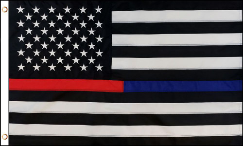 THIN RED & BLUE LINE U.S. SEWN 3X5' NYLON FLAG