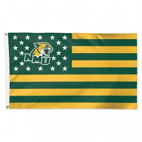 NORTHERN MICHIGAN UNIVERSITY STRIPES DLX 3X5' FLAG