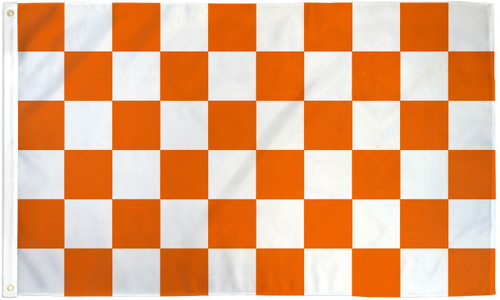 ORANGE/WHITE CHECKERED 3X5' S-POLY FLAG
