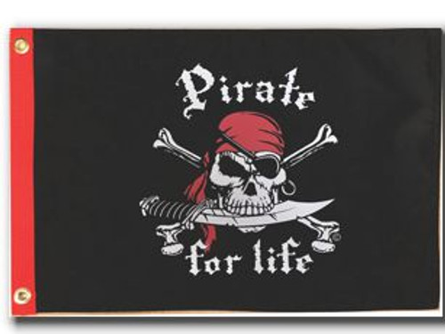 """PIRATE FOR LIFE RED 12X18"""" BOAT FLAG"""
