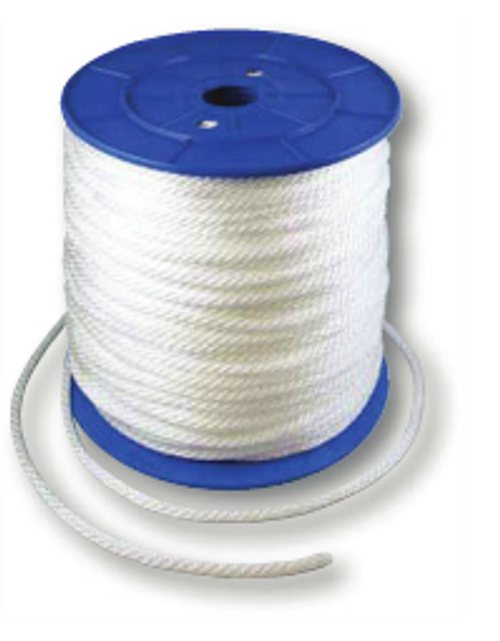 """SOLID BRAID POLYESTER 3/16"""" WHITE ROPE 1500 FOOT SPOOL"""