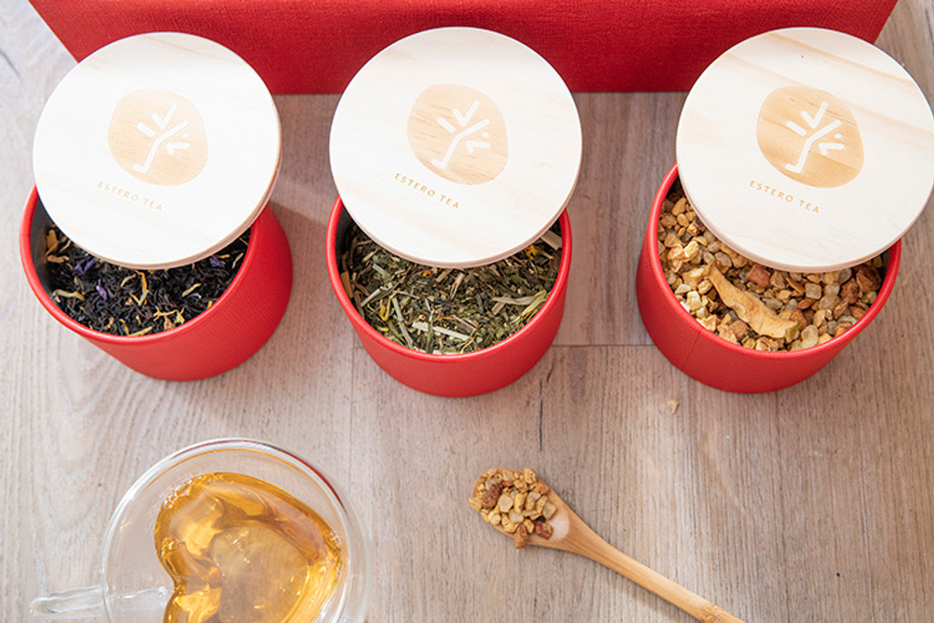 Bamboo Tea Box with 3 cans - including the tea inside