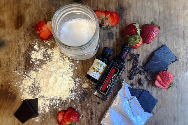 Vegan Protein Milkshake with Chocolate Balsamic and Fresh Strawberries Recipe