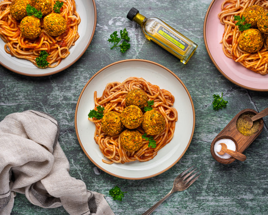 Lentil Meatballs with Spicy Calabrian Pesto Olive Oil