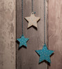 Personalised Star Dream Catcher painted blue and white stars up close