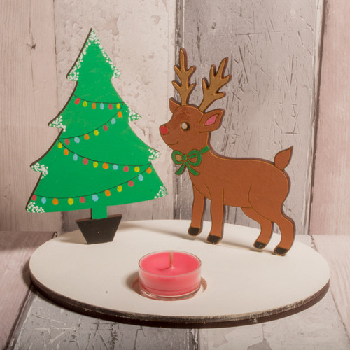 Wooden Tealight Holder with Reindeer and Tree