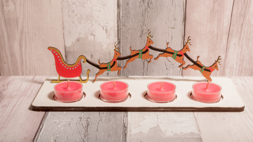Wooden Tealight Holder with Sleigh