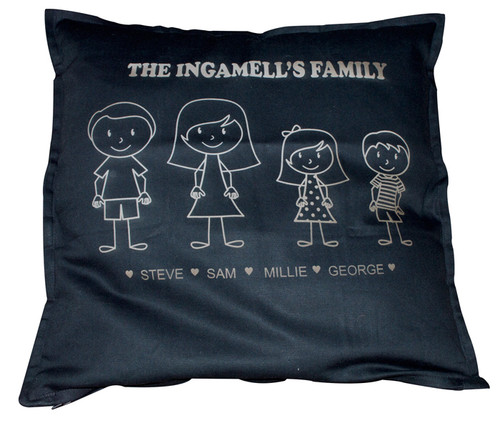 Personalised Family Figure Black Cushion Cover