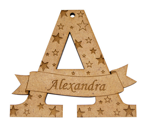 Personalised Letter Bauble - Star design Letter A