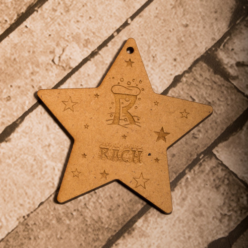 Personalised Snow Letter Star Decoration