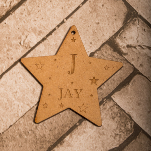 Personalised Imprint Letter Star Decoration