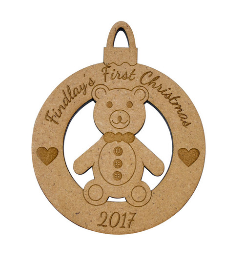 Personalised First Christmas Teddy Bauble