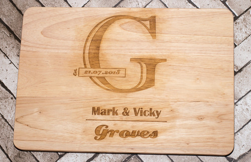Personalised Wedding Chopping Board - Large Letter Design