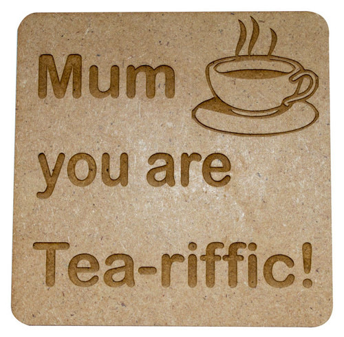 Personalised Wooden Quote Coaster - TEA-riffic