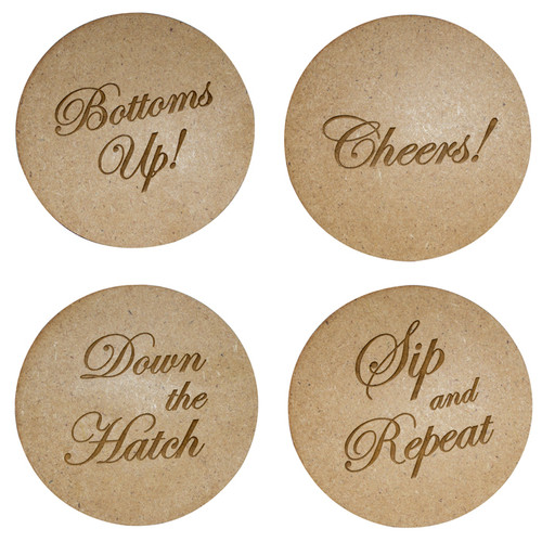 Wooden Round Quote Coaster set of 4
