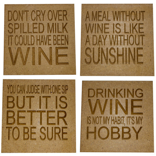 Set of 4 Wooden Quote Coasters