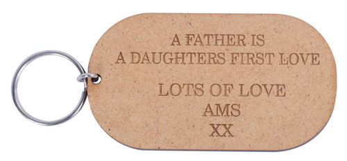 Wooden Father Is Daughters First Love Keyring