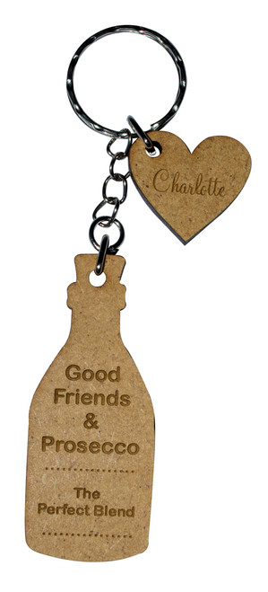 Personalised Wooden Prosecco Quote Keyring