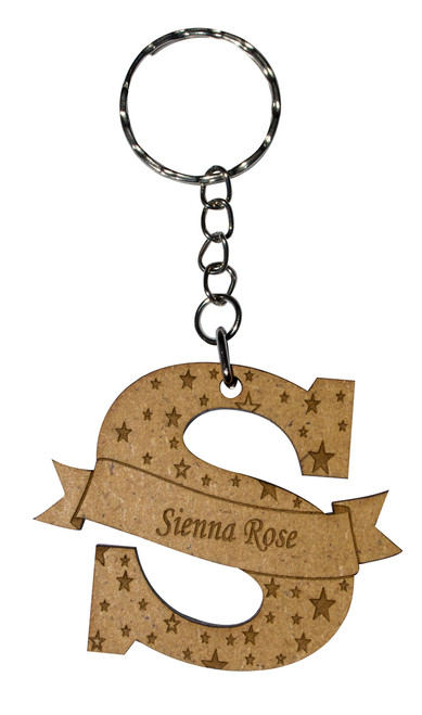 Personalised Letter Keyring Star Design Letter S