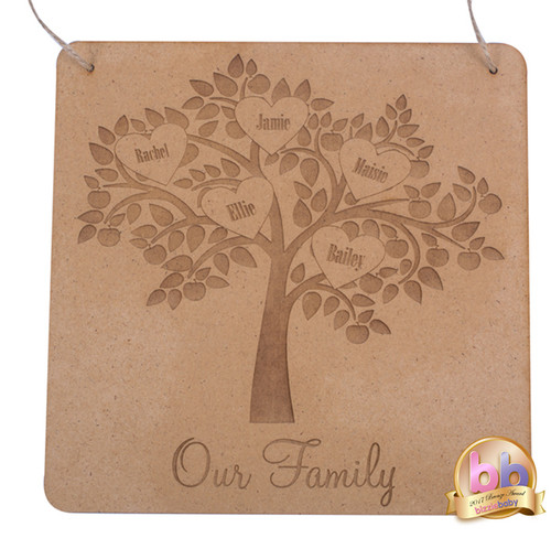 Personalised Wooden Family Tree Plaque With Bizziebaby award in corner