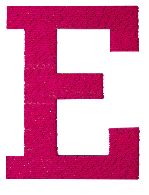 Large Wooden Letter E with pink wool
