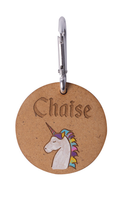 Wooden Unicorn Bag Tag