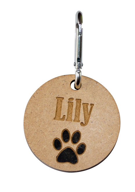 Wooden Paw Print Bag Tag