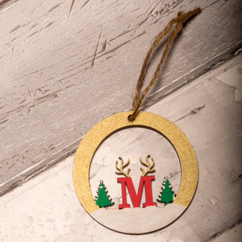 Personalised Letter bauble with reindeer antlers Letter M painted Gold