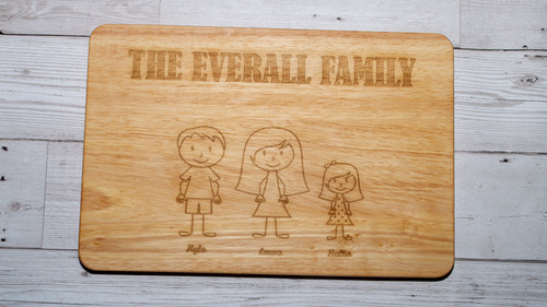 family figure chopping board with 3 names