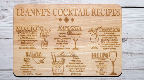 Personalised cocktail recipe chopping board