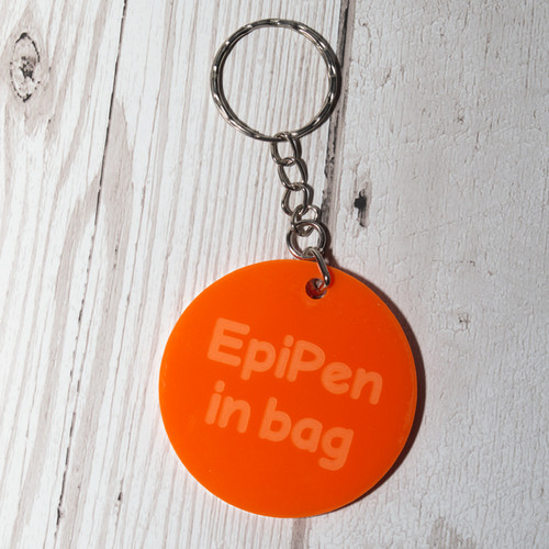 EpiPen in bag medical bag tag acrylic