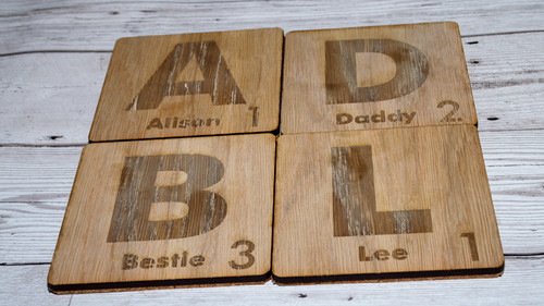 Main picture for scrabble style coasters different angle