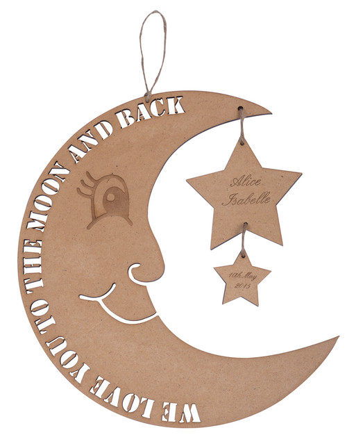 Personalised Moon and Stars Natural