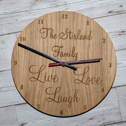 Live Love Laugh personalised wooden clock face