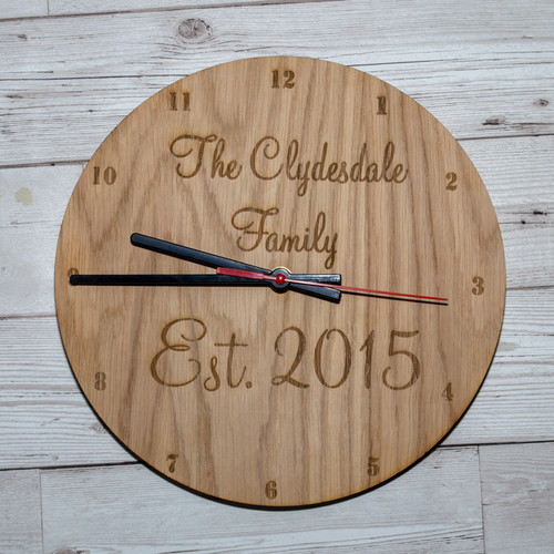 Personalised wooden Established Clock Face