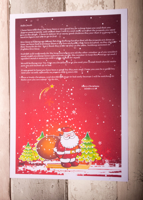 Personalised Santa with Red Background Design Santa Letter