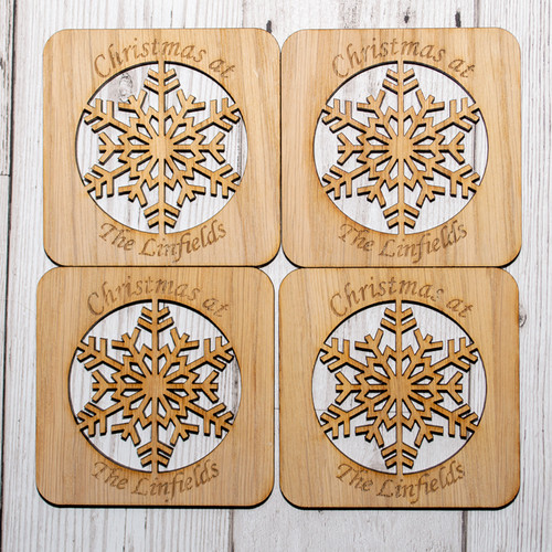 Snowflake Surname Coaster Set of 4