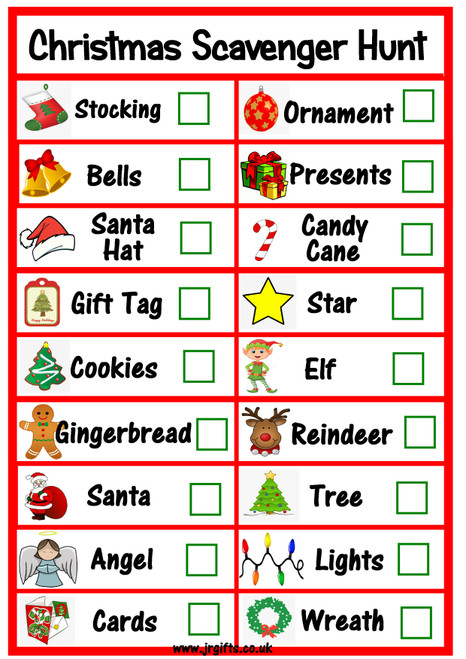 Christmas Scavenger Hunt printable