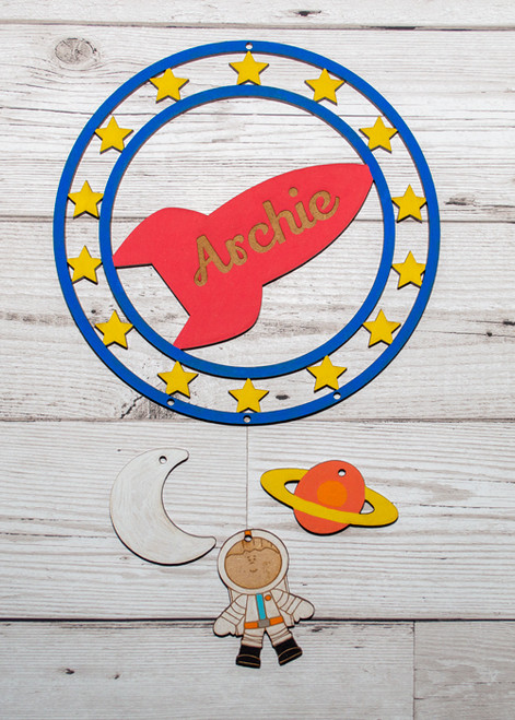 Personalised Painted Rocket Dream Catcher space boy