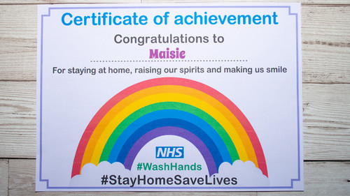 Certificate of Achievement NHS staying home Personalised with Ellie