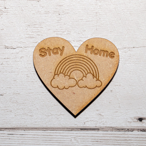Stay Home Rainbow Heart Magnet