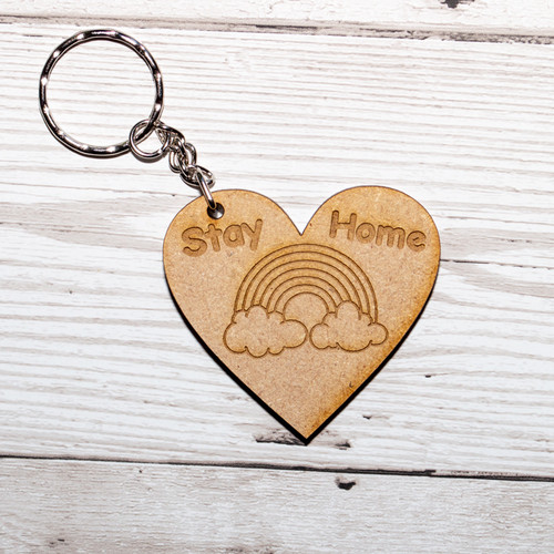Stay Home Rainbow heart keyring