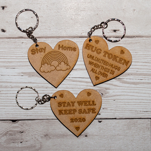 Set of 3 Stay Safe heart keyrings