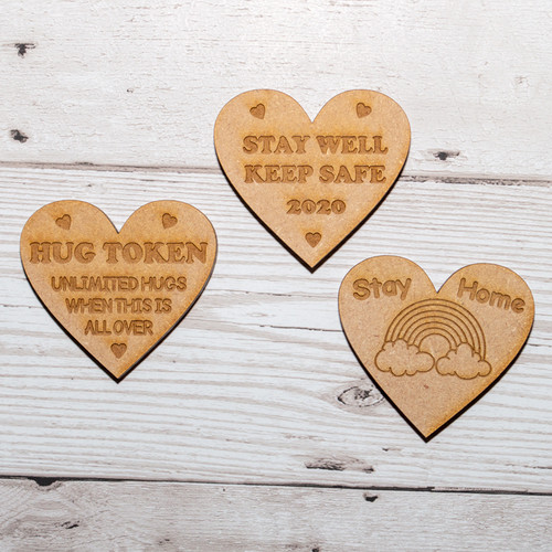 Set of 3 Stay Safe heart magnets