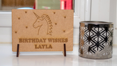Birthday Unicorn Wooden Postcard