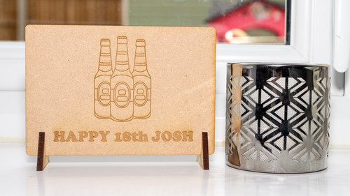 Birthday Beer Wooden Message Card